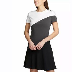 DKNY Asymmetrical Colorblock Dress 10